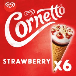 Cornetto Strawberry Ice Cream Cones 6 x 90 ml