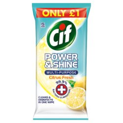 Cif Power & Shine Antibacterial Multipurpose Wipes Citrus Fresh 15 Large & Thick Wipes £1.00