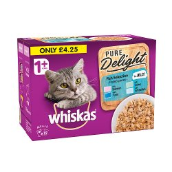 Whiskas Pure Delight Adult 1+ Wet Cat Food Pouches Fish Selection in Jelly 12 x 85g