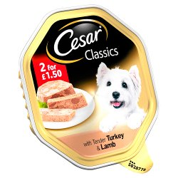 Cesar Classics Wet Dog Food Tray with Tender Turkey & Lamb in Loaf 150g