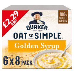 Quaker Oat So Simple Golden Syrup Porridge 6 x 288g (6 Pks of 8 Sachets)