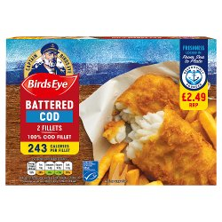 Birds Eye 2 Battered Cod Fillets 200g
