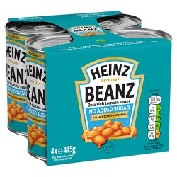 Heinz No Added Sugar Baked Beanz 4 x 415g