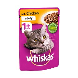 WHISKAS 1+ Cat Pouch with Chicken in Jelly 100g