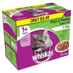 WHISKAS 1+ Cat Pouches Fish & Meaty Selection in Jelly 12 x 100g