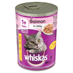 WHISKAS 1+ Cat Tin with Salmon in Jelly 390g