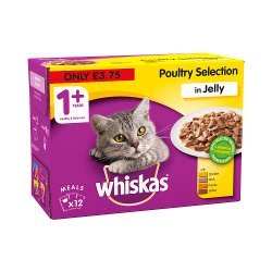 Whiskas Adult 1+ Wet Cat Food Pouches Poultry in Jelly 12 x 100g (PMP £3.75)
