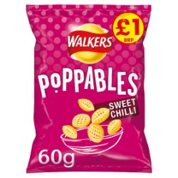 Walkers Poppables Sweet Chilli Snacks PMP 60g