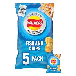 Walkers Fish and Chips Flavour Multipack Crisps 5x25g