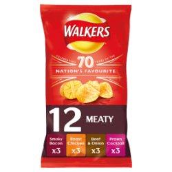 Walkers Meaty Variety Crisps 12x25g
