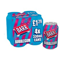 Barr Bubblegum 4 x 330ml Cans, PMP £1.29