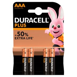 Duracell Plus Power Type AAA Alkaline Batteries, Pack of 4