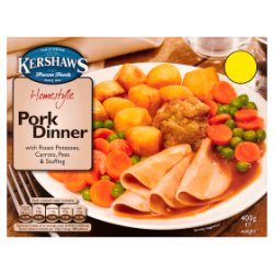 Kershaws Homestyle Pork Dinner with Roast Potatoes, Carrots, Peas & Stuffing 400g