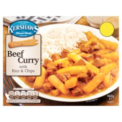 Kershaws Chip Shop Beef Curry with Rice & Chips 460g