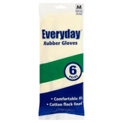 Everyday Rubber Gloves Medium 6 Pairs