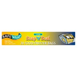 SafeWrap Snap 'n' Seal 20 Food/Freezer Bags Large 250mm x 380mm