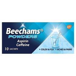Beechams Cold & Flu Sachets, Pain & Fever Relief Medicine, Aspirin & Caffeine Powders, 10 Count