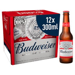 Budweiser Lager Beer Bottles - Premier League Edition 12 x 300ml