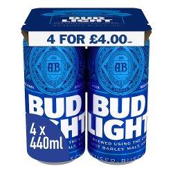 Bud Light Lager Beer 4 x 440ml