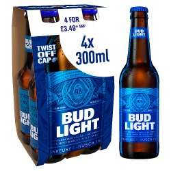Bud Light Lager Beer Bottles 4 x 300ml