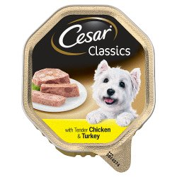 Cesar Classics Wet Dog Food Tray with Chicken and Turkey in Loaf 150g