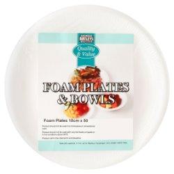 Batleys Catering Foam Plates & Bowls 50 x 18cm Foam Plates