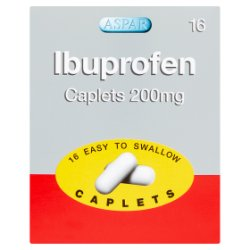 Aspar Ibuprofen Caplets 200mg 16 Easy to Swallow Caplets