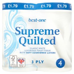 Best-One Supreme Quilted Toilet Tissue 3 Ply 4 Rolls
