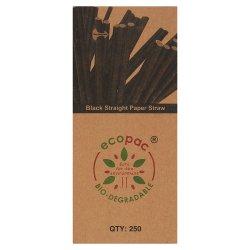 Ecopac 250 Black Straight Paper Straw 210mm