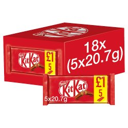 KITKAT 2 Finger Milk Chocolate Biscuit Bar, 5 Pack for £1