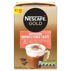 NESCAFÉ GOLD Cappuccino Unsweetened Taste Coffee, 8 Sachets x 14.2g