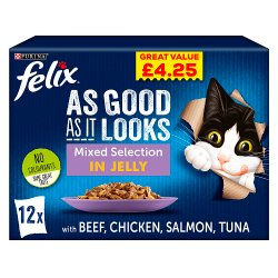FELIX AS GOOD AS IT LOOKS Favourites Selection in Jelly Wet Cat Food 12x100g PMP
