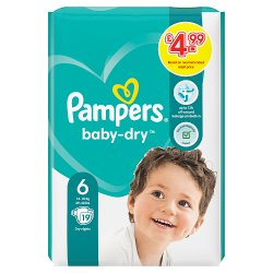 Pampers Baby-Dry Size 6, 19 Nappies, 13-18kg, Breathable Dryness
