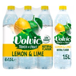Volvic Touch of Fruit Low Sugar Lemon & Lime Natural Flavour 6 x 1.5L