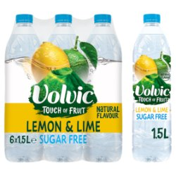 Volvic Touch of Fruit Sugar Free Lemon & Lime Natural Flavoured Water 6 x 1.5L