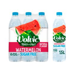 Volvic Touch of Fruit Sugar Free Watermelon Natural Flavoured Water 6 x 1.5L
