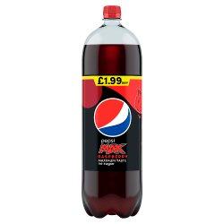 Pepsi Max Raspberry No Sugar Cola Bottle PMP 2L