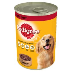PEDIGREE Dog Tin with Beef in Gravy 400g (MPP 75p / 2 for £1.40)