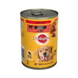 Pedigree Adult Wet Dog Food Tin with Beef in Gravy 400g (PMP 95p)