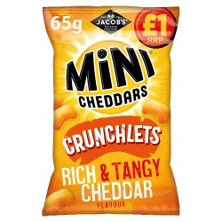 Jacob's Mini Cheddars Crunchlets Rich and Tangy Cheddar Flavour 65g