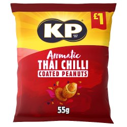 KP Aromatic Thai Chilli Coated Peanuts 55g, £1 PMP
