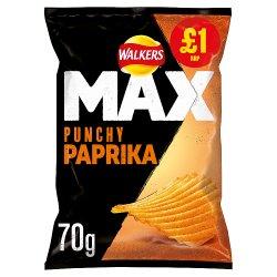 Walkers Max Punchy Paprika Flavour Crisps PMP 70g