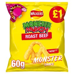 Walkers Monster Munch Roast Beef Snacks £1 PMP 60g