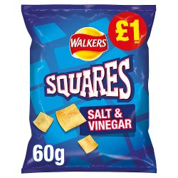 Walkers Squares Salt & Vinegar Snacks £1 RRP PMP 60g