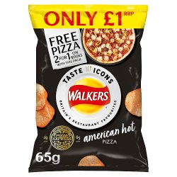 Walkers American Hot Pizza Flavour Crisps PMP 65g