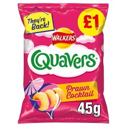 Walkers Quavers Prawn Cocktail Snacks £1 RRP PMP 45g