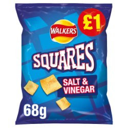 Walkers Squares Salt & Vinegar Snacks PMP 68g