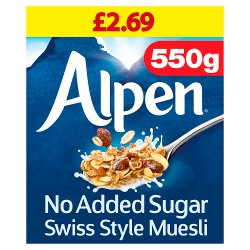 Alpen Muesli No Added Sugar 6 x 550g Case PMP £2.69