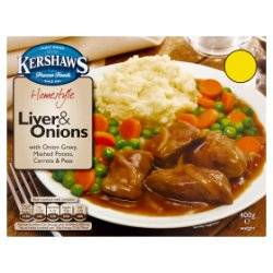 Kershaws Homestyle Liver & Onions with Onion Gravy, Mashed Potato, Carrots & Peas 400g