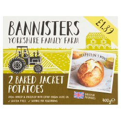 Bannisters Yorkshire Family Farm 2 Baked Jacket Potatoes 400g